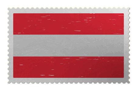Austria flag on shabby postage stamp, vector