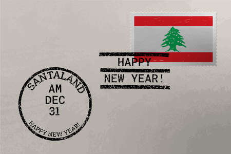 Postage stamp envelope with Poland flag, Christmas and New Year stamps, vector Stok Fotoğraf