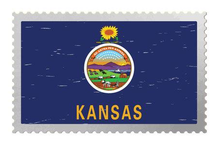Kansas USA flag on old postage stamp, vector
