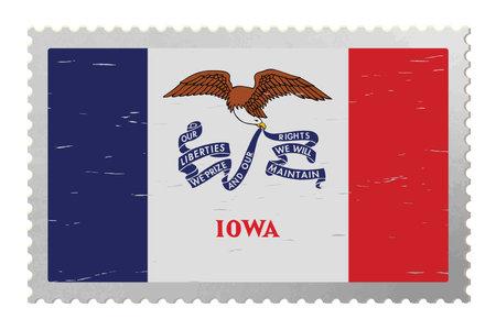 Iowa USA flag on old postage stamp, vector Çizim