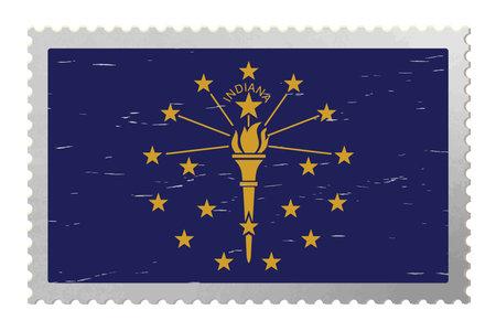 Indiana USA flag on old postage stamp, vector