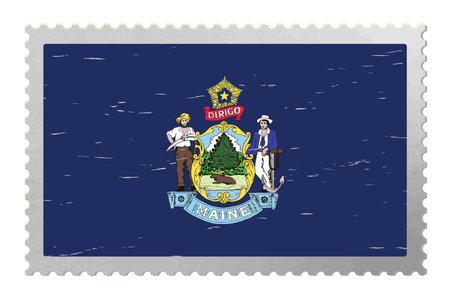 Maine USA flag on old postage stamp, vector