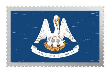 Louisiana USA flag on old postage stamp, vector
