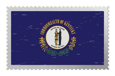 Kentucky USA flag on old postage stamp, vector