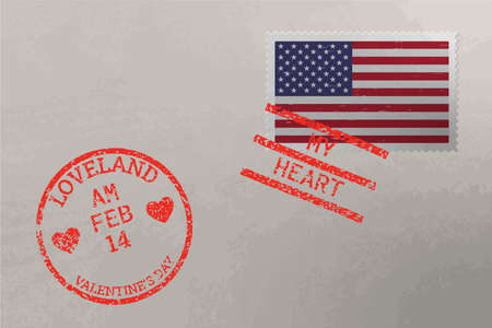 Postage stamp envelope with USA flag and Valentines Day stamps, vector