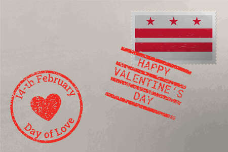 Postage stamp envelope with District of Columbia US flag and Valentines Day stamps, vector