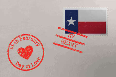 Postage stamp envelope with Texas US flag and Valentines Day stamps, vector