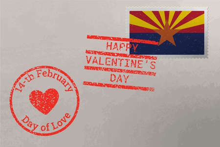 Postage stamp envelope with Arizona US flag and Valentines Day stamps, vector