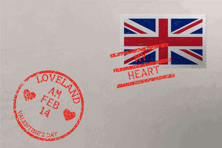 Postage stamp envelope with United Kingdom flag and Valentine s Day stamps, vector Stok Fotoğraf