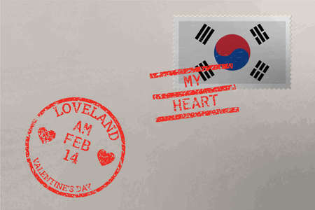 Postage stamp envelope with South Korea flag and Valentine s Day stamps, vector Stok Fotoğraf