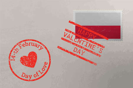 Postage stamp envelope with Poland flag and Valentine s Day stamps, vector Stok Fotoğraf