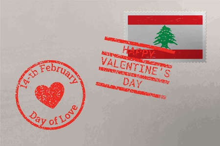Postage stamp envelope with Lebanon flag and Valentine s Day stamps, vector