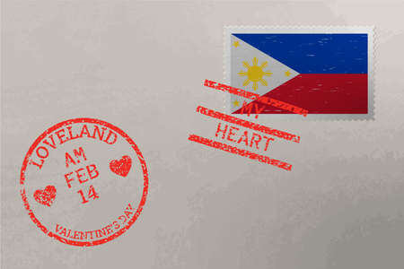 PhilippinesPostage stamp envelope with Philippines flag and Valentine s Day stamps, vector Stok Fotoğraf