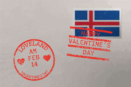 Postage stamp envelope with Iceland flag and Valentine s Day stamps, vector