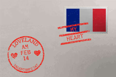 Postage stamp envelope with France flag and Valentine s Day stamps, vector Stok Fotoğraf