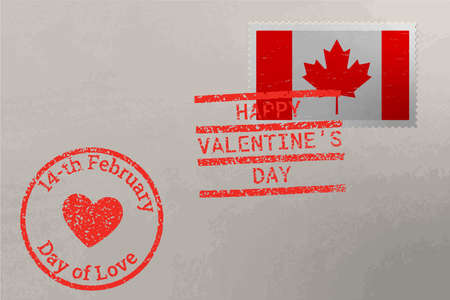 Postage stamp envelope with Canada flag and Valentine s Day stamps, vector