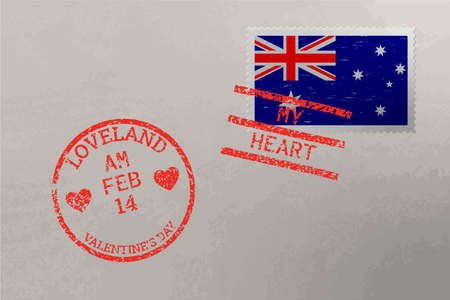 Postage stamp envelope with Australia flag and Valentine s Day stamps, vector Stok Fotoğraf