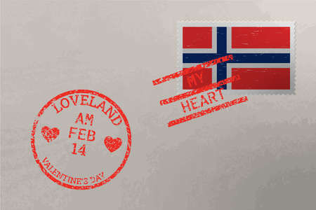 Postage stamp envelope with Norway flag and Valentine s Day stamps, vector