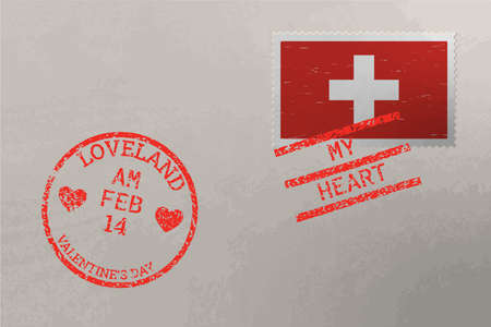 Postage stamp envelope with Switzerland flag and Valentine s Day stamps, vector Stok Fotoğraf
