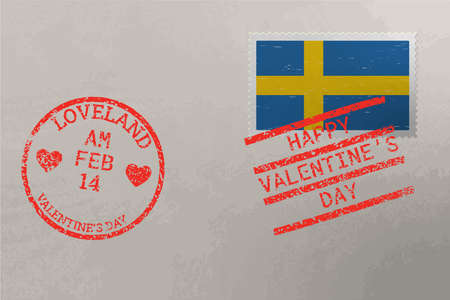 Postage stamp envelope with Sweden flag and Valentine s Day stamps, vector