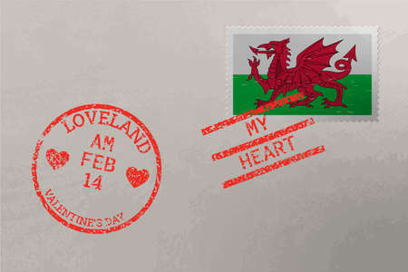 Postage stamp envelope with Wales flag and Valentine s Day stamps, vector