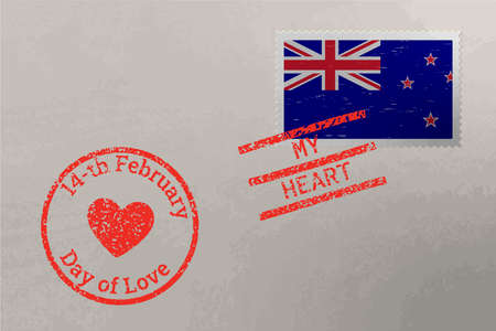 Postage stamp envelope with New Zealand flag and Valentine s Day stamps, vector 版權商用圖片
