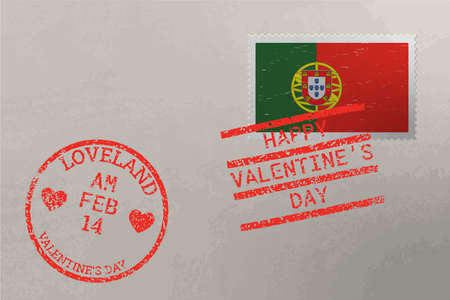 Postage stamp envelope with Portugal flag and Valentine s Day stamps, vector