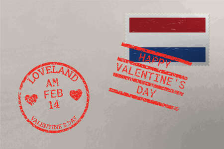Postage stamp envelope with Netherlands flag and Valentine s Day stamps, vector 版權商用圖片
