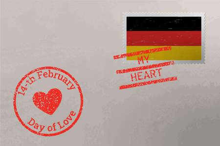 Postage stamp envelope with Germany flag and Valentine s Day stamps, vector