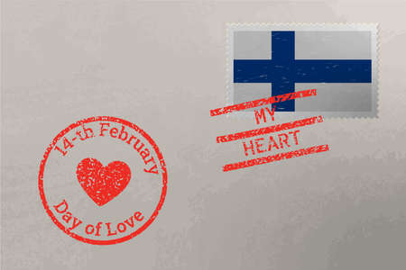 Postage stamp envelope with Finland flag and Valentine s Day stamps, vector