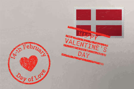 Postage stamp envelope with Denmark flag and Valentine s Day stamps, vector 版權商用圖片