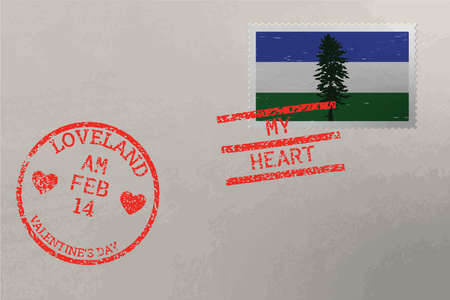 Postage stamp envelope with Cascadia flag and Valentine s Day stamps, vector