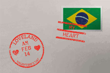 Postage stamp envelope with Brazil flag and Valentine s Day stamps, vector Stok Fotoğraf
