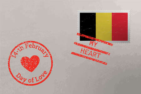 Postage stamp envelope with Belgium flag and Valentine s Day stamps, vector