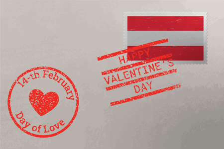 Postage stamp envelope with Austria flag and Valentine s Day stamps, vector