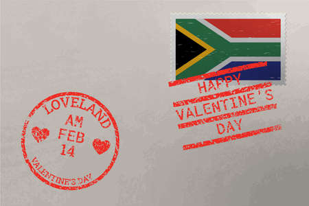 Postage stamp envelope with South Africa flag and Valentine s Day stamps, vector 版權商用圖片