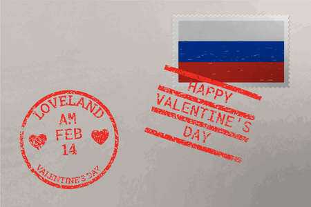 Postage stamp envelope with Russia flag and Valentine s Day stamps, vector