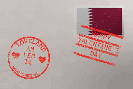 Postage stamp envelope with Qatar flag and Valentine s Day stamps, vector 版權商用圖片