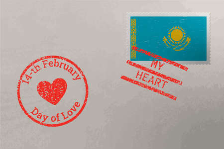 Postage stamp envelope with Kazakhstan flag and Valentine s Day stamps, vector