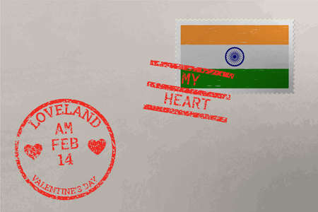 Postage stamp envelope with India flag and Valentine s Day stamps, vector