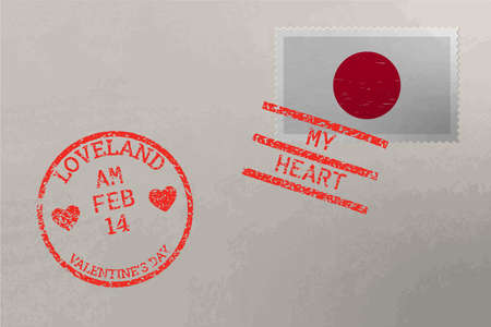 Postage stamp envelope with Japan flag and Valentine s Day stamps, vector