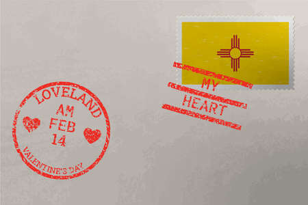 Postage stamp envelope with New Mexico US flag and Valentine s Day stamps, vector