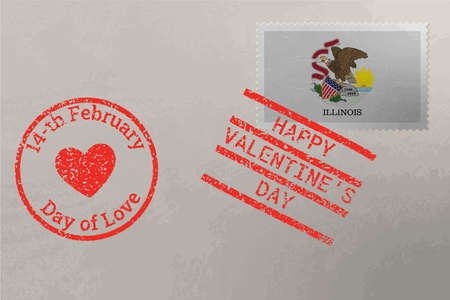 Postage stamp envelope with Illinois US flag and Valentine s Day stamps, vector