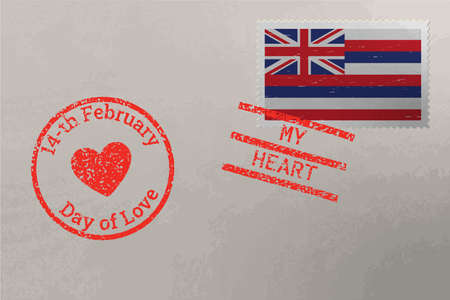 Postage stamp envelope with Hawaii US flag and Valentine s Day stamps, vector