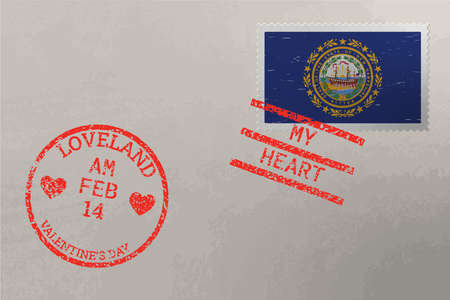 Postage stamp envelope with New Hampshire US flag and Valentine s Day stamps, vector