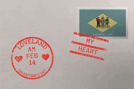 Postage stamp envelope with Delaware US flag and Valentine s Day stamps, vector