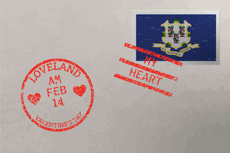 Postage stamp envelope with Connecticut US flag and Valentine s Day stamps, vector