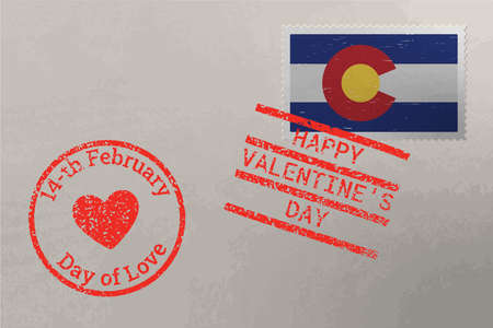 Postage stamp envelope with Colorado US flag and Valentine s Day stamps, vector 版權商用圖片