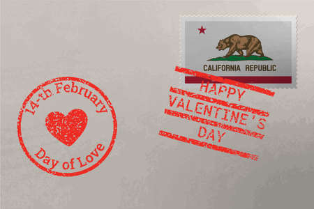 Postage stamp envelope with California US flag and Valentine s Day stamps, vector 版權商用圖片