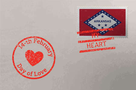 Postage stamp envelope with Arkansas US flag and Valentine s Day stamps, vector 版權商用圖片